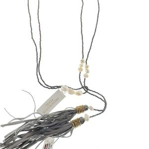 Jewelry - Long Lariat Style Necklace Grey Tassels pearls
